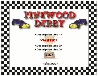 Pinewood Derby Certificate template Cub Scout Derby - Pinewood - first place award template