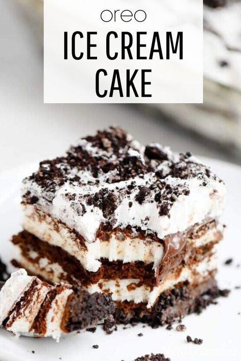 This Oreo ice cream cake is absolutely delicious and so easy to make! The layers of hot fudge, cool whip and crushed Oreo's make the perfect combination of chocolaty goodness. #oreo #oreos #chocolate #chocolatedesserts #chocolatelovers #dessert #dessertrecipes #frozendessert #icecream #icecreamcake #summer #summerrecipes #summerdesserts #recipes #iheartnaptime