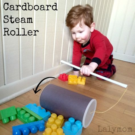 Make a cardboard steamroller for the kids