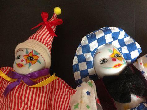 Magnificent Vintage Clown Doll Porcelain Head Sand Bag Body Set Of 2 In Inzonedesignstudio Interior Chair Design Inzonedesignstudiocom