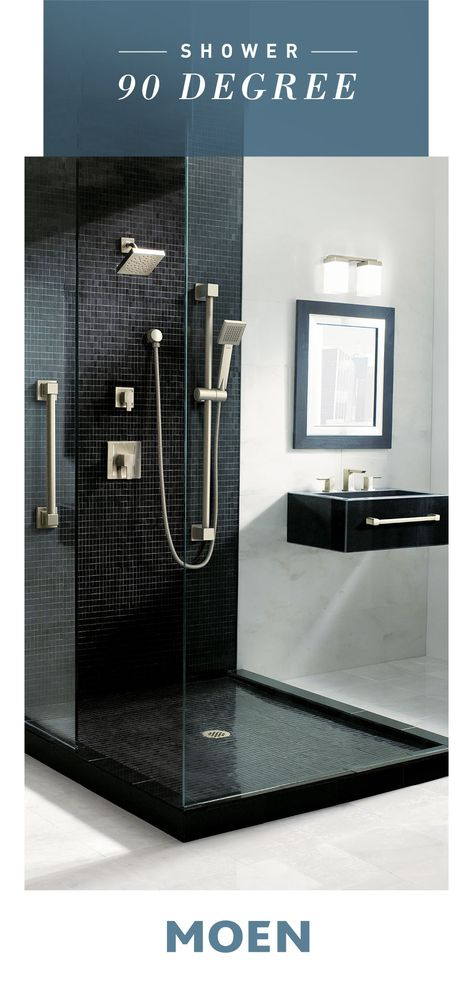 Our 90 Degree shower collection makes any bathroom dramatic and ultra-modern.