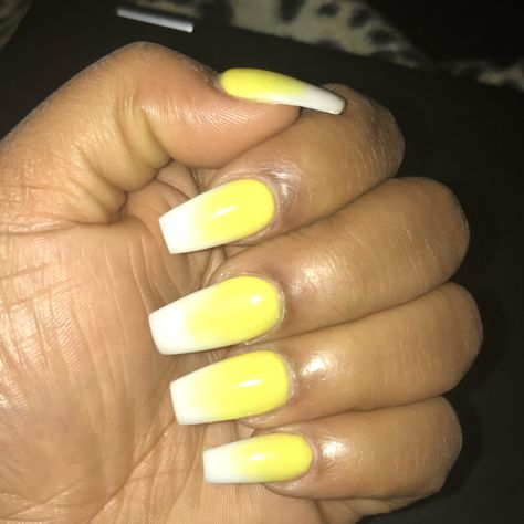 Ombre Yellow And White Nails Ambre Nails White Nails Nails