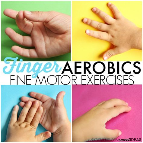 Motor Skills Needed at School and Classroom Activities to Help Finger Aerobics: Activities to help improve fine motor skills.Finger Aerobics: Activities to help improve fine motor skills. Fine Motor Activities For Kids, Motor Skills Activities, Gross Motor Skills, Sensory Activities, Classroom Activities, Sensory Rooms, Physical Activities, Physical Education, Health Education