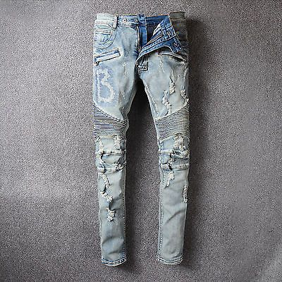 Men Fashion Ripped Biker Jeans Vintage Distressed Denim Pants with Patches