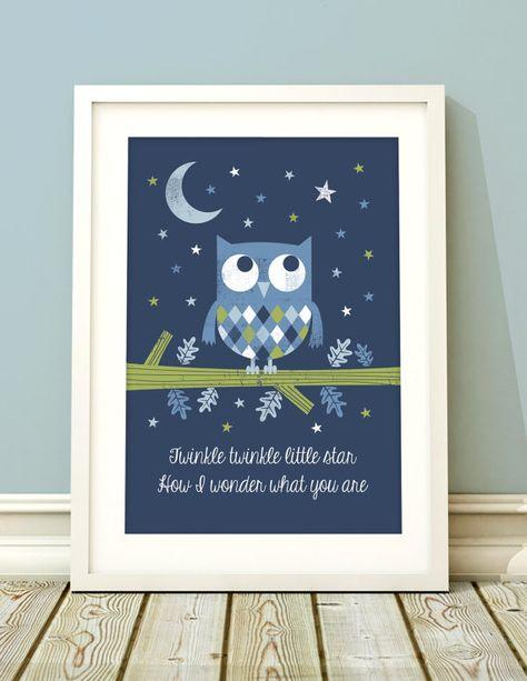 Nursery Art Boy Owl Print By