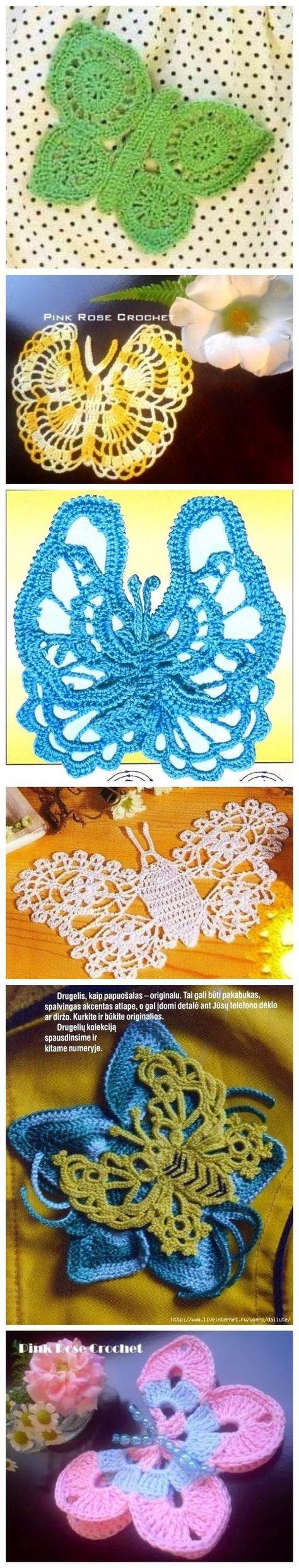 Free crochet butterfly motif patterns.