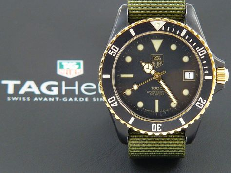 TAG Heuer 1000 Submariner Man Black Coral on a Military green Nato band 980.029N