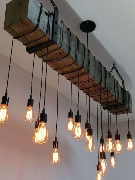 Reclaimed Wood Beam Light Fixture Chandelier with hanging brackets and Wrapped LED Edison Bulbs long beam – Modern Industrial Farmhouse – Lighting