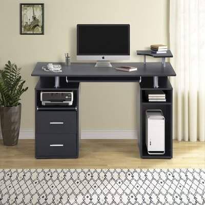 Computer Desk With Pull Out Keyboard Tray And Drawers Orren Ellis In 2020 Home Office Computer Desk Desk Office Computer Desk