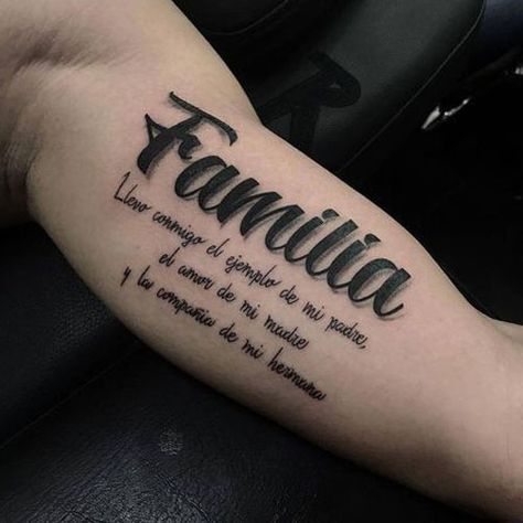 Meaningful Family Quote Bicep Tattoos - Best Inner Bicep Tattoos For Men: Cool Inside Arm Bicep Tattoo Designs and Ideas For Guys