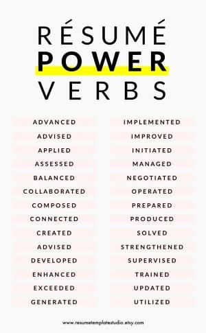 Resume Tips Resume Skill Words Resume Verbs Resume Experience Resume Power Words Professional Resume Examples Resume Skills