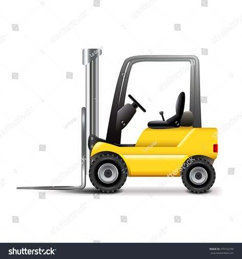 Forklift isolated on white photo-realistic vector illustration #Ad , #ad, #white#isolated#Forklift#photo