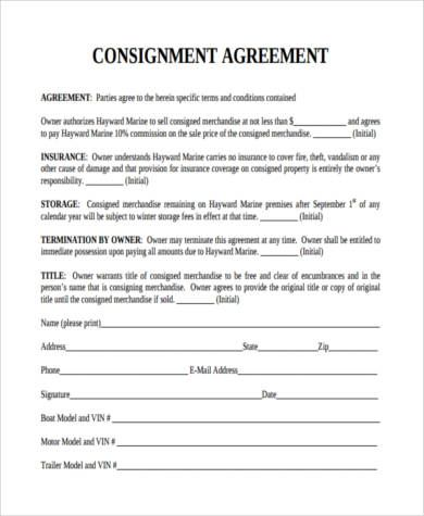 Consignment Agreement Template Contract Template Consignment