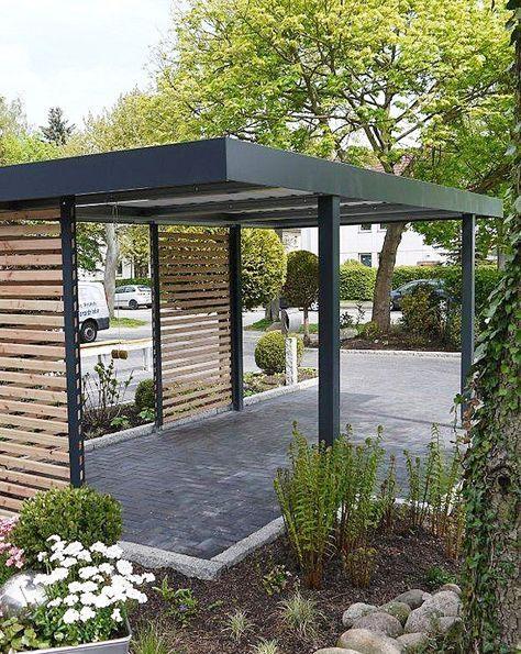 Siebau Carport 2 58 M Breit In Modularer Bauweise Flachdach Hauswand Carport Modern