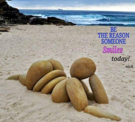 Life's a beach = this creatively placed collection of rounded off beach pebbles look like the folds of skin on an overweight individual ✔️