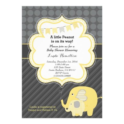 Baby shower invitation with yellow elephant and grey background. Perfect for a neutral gender baby shower.