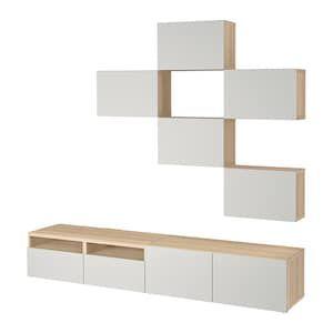 Besta Combinaison Meuble Tv Motif Noyer Teinte Gris Lappviken Blanc Ikea Meuble Tv Ikea Systeme De Rangement