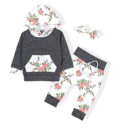 ba00d510d893 Baby Girl Clothes Baby Girls Long Sleeve Flowers Hoodie Top and ...