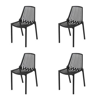 Gartenstuhl Kunststoff Schwarz 4er Set Sparo Gartenstuhle Kunststoff Gartenstuhle Stuhle