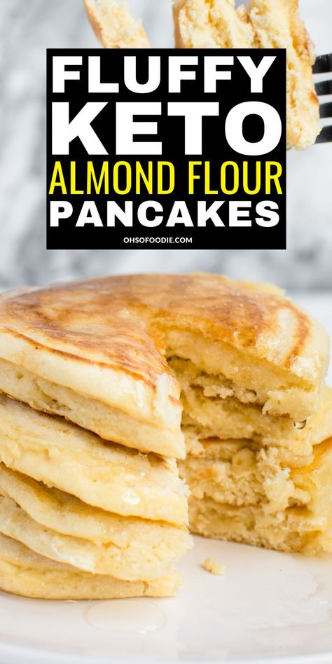 Fluffy Keto Almond Flour Pancakes Fluffy Keto Almond Flour Pancakes made with almond flour and almond milk with only net carbs per serving! You have to try these easy low carb almond flour pancakes for an easy keto breakfast made in 10 minutes! Almond Flour Pancakes, Low Carb Pancakes, Almond Flour Recipes, Fluffy Pancakes, Almond Flour Bread, Tasty Pancakes, Oat Flour, Cream Cheese Keto Recipes, Almond Flour Desserts