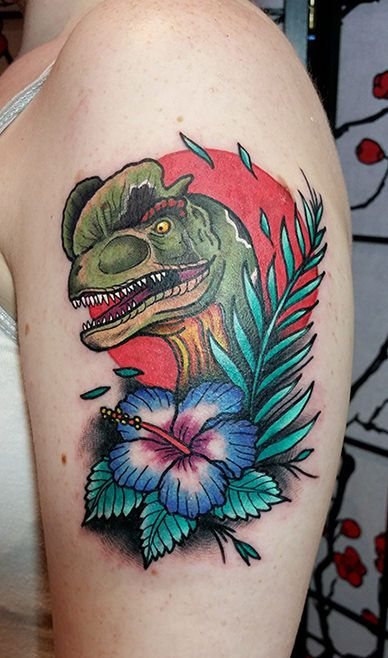Jurassic Park Dilophosaurus by me ( @ Forever Ink Chicago IL