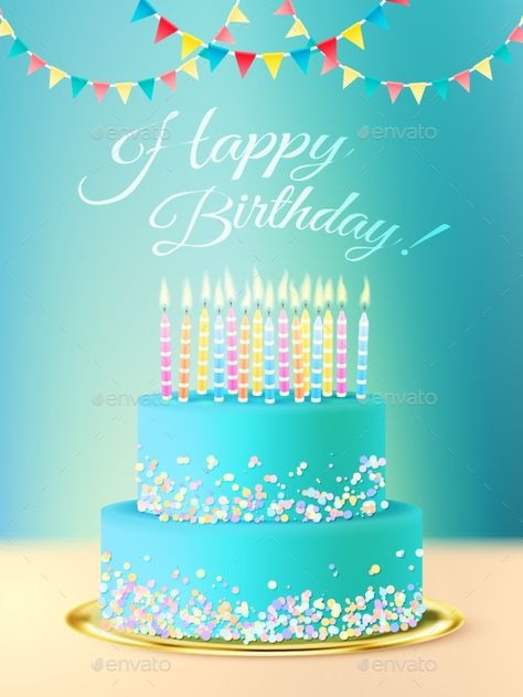 Happy birthday postcard with layered roundcake with blue icing candles and festive background realistic vector illustration. Edita