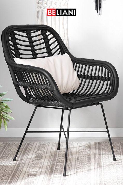 Rattanstuhl schwarz CANORA in 2020   Schwarz, Sitzen, Stühle