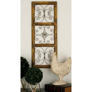Litton Lane 48 In X 48 In Rustic Decorative Carved Floral Patterned Wooden Wall Panel In Distressed Brown 23775 The Home Depot Metal Wall Panel Wooden Wall Panels Wall Paneling