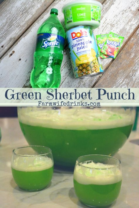 Green sherbet punch is a lime flavored green punch combining lemon-lime Kool-Aid. - Green sherbet punch is a lime flavored green punch combining lemon-lime Kool-Aid, pineapple juice a - Christmas Punch, Christmas Drinks, Holiday Punch, Halloween Drinks, Halloween Food For Party, Halloween Punch For Kids, Zombie Party, Halloween Halloween, Halloween Treats