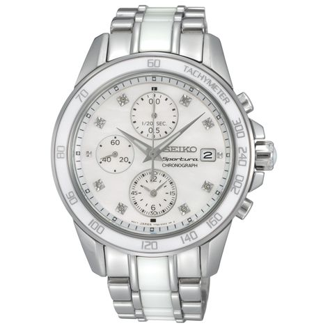 Seiko Watch, Women's Chronograph Sportura Diamond Accent White Ceramic and Stainless Steel Bracelet - Women's Watches - Jewelry .