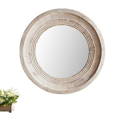 Bailey Farmhouse Natural Whitewash 36 Round Mirror Round Mirrors Mirror Decor Rustic Mirrors