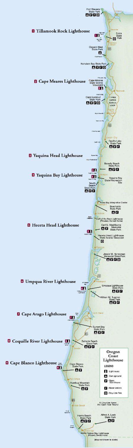 Oregon Lighthouse Map Oregon Or Bust Pinterest Lighthouse - Us west coast vancouver island map