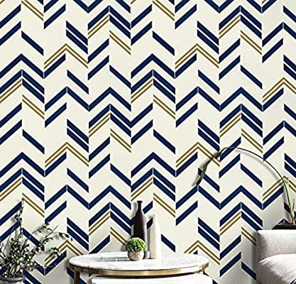 Blue Chevron Stripe Wall Paper Blue Peel And Stick Wallpaper Blue Self Adhesive Wallpaper Removable Wallpaper Modern Wall Design Shelf Liner Chevron Wallpaper