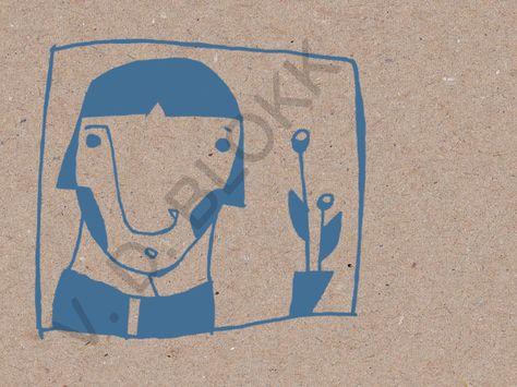 ein digitaldruck einer originalen tuschezeichnung. jeder druck wird signiert.  +druckfarbe: blau. papierbogen: grau, hergestellt aus 100 % altpapier.+  das wasserzeichen erscheint...
