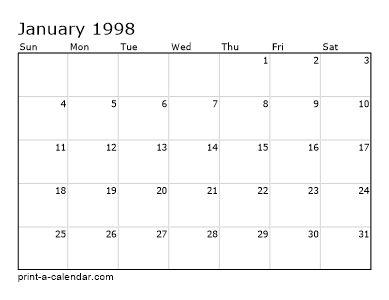 Make Your Own 1997 1998 Or 1999 Printable Calendar Pdf