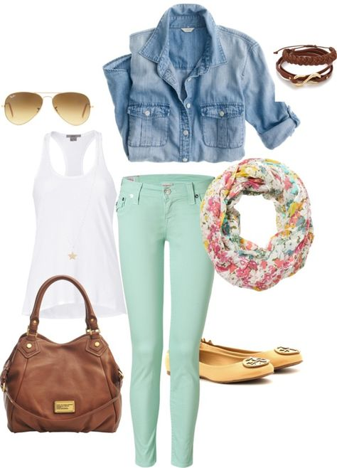 """""""Spring 2013 Mint Skinny Jeans"""" by lisantay on Polyvore"""