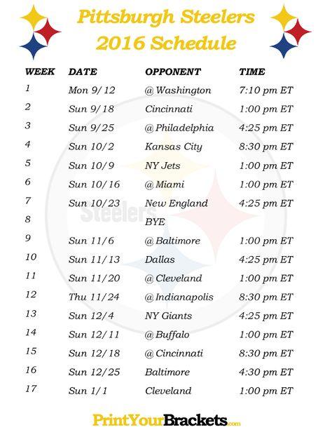 Printable Pittsburgh Steelers Schedule - 2016 Football Season