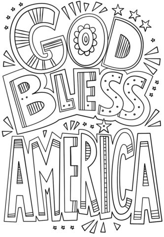 Image Result For God Bless America Fourth Of July Coloring Pages