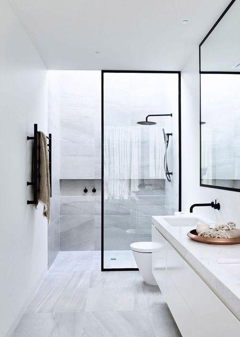 Black Frame Glass Shower Door #style #home #interiordesign