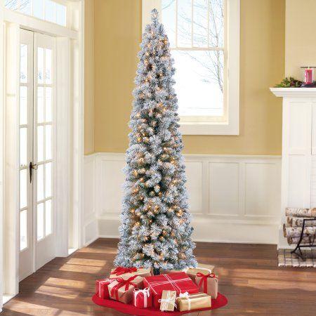 Home Flocked Christmas Trees Pencil Christmas Tree
