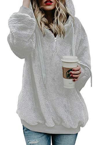 Women Fleece Fluffy Hoodies Warm Sweatshirt Hooded Pullover Coat Winter Outwear