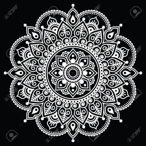 Mehndi, indischen Henna Tattoo-Weiß-Muster auf schwarzem Hintergrund Standard-Bild - 43960139