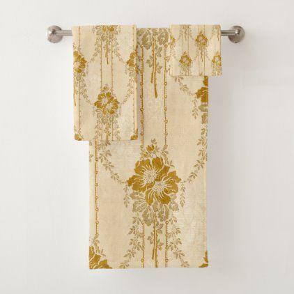 Elegant Vintage Gold Floral Swag Pattern Bath Towel Set Zazzle Com In 2020 Patterned Bath Towels Floral Swag Towel Set