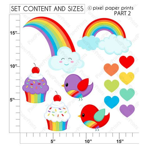 Rainbow girls Classic colors Clipart and by pixelpaperprints