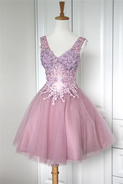 Pink Homecoming Dresses,Applique Homecoming Dresses,Lace Homecoming Gowns,Short Prom Gown,Blush Pink Sweet 16 Dress