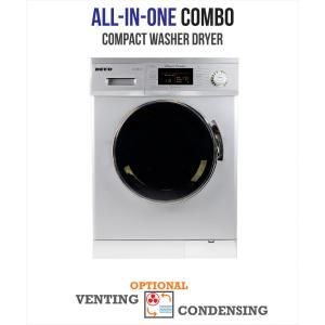 Deco All In One 1 57 Cu Ft Compact Combo Washer And Electric Dryer With Optional Condensing Venting Dry In White Dc 4000 Cv White Washer Dryer Portable Washer Dryer Compact Washer Dryer