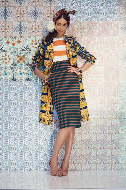 Louise Body tiles for Stella Jean fashion shoot. Moroccan tile wallpaper with Stella Jean fashion, a great combination!