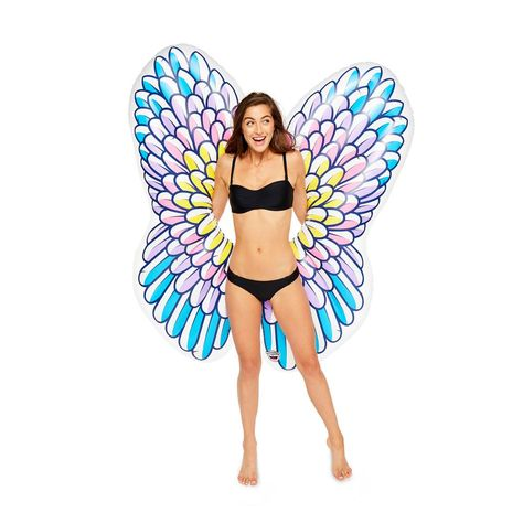 Bigmouth Inc Giant Inflatable Angel Wings Pool Float Pool Tube With Patch Kit Included Multi Pool Tube Pool Float Giant Inflatable