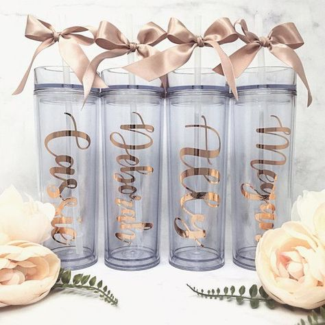 Clear, skinny, acrylic BPA Free plastic water bottle tumblers with custom font & bow colors make a great gift for Bridesmaids, Birthday, Sororities, and Sports Teams! These classy and beautiful Tumblers are sure to WOW! Skinny Tumbler is a 16oz double wall insulated acrlyic