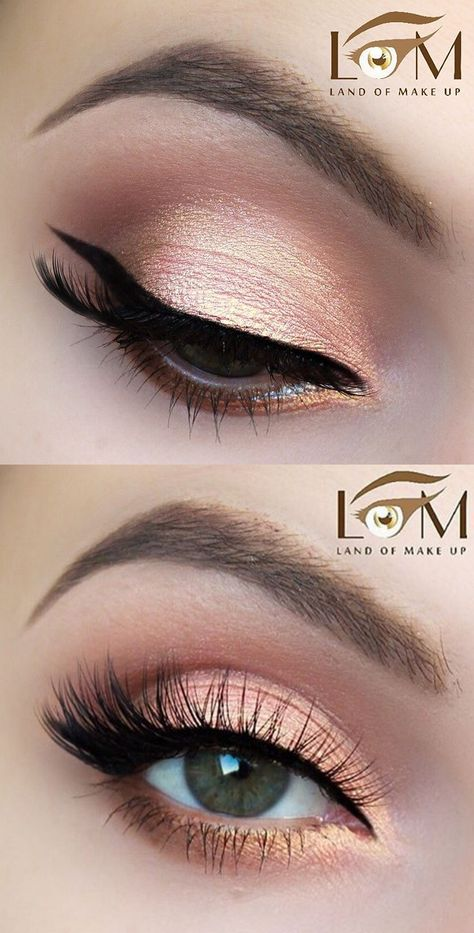 Romantic peachy pink glam makeup look by @landofmakeup - @makeupaddictioncosmetics Frenchmanicure pigment (beautiful duo chrome rose gold colour). Gel liner by @tartecosmetics clay pot #eye #makeup #eyeshadow